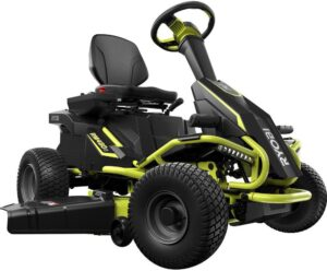 Ryobi 38″ Battery Electric Rear Engine Riding Lawn Mower RY48110
